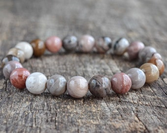Petrified Wood Bracelet • Mens Bracelet • Womens Gemstone Bracelet • Bead Bracelet • Stacking Bracelet • Stretch Bracelet • Jewelry • Gifts