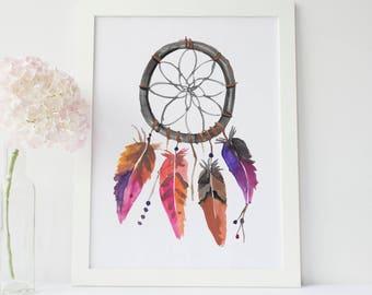 Dreamcatcher Wall Art, Nursery Dream Catcher Print, Boho Decor Watercolor, Bohemian Nursery Decor, Downloadable Boho Art, Native American