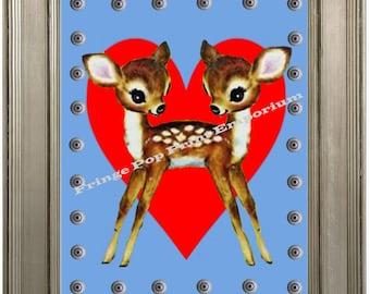 Siamese Twins Deer Sideshow Art Print 8 x 10 - Whimsical Kawaii - Hearts