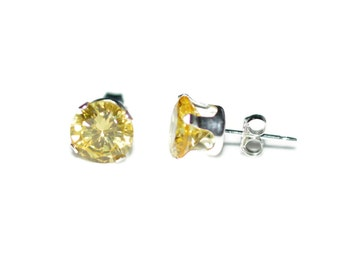 5mm Round Yellow Stud Earrings Cubic Zirconia CZ Sterling Silver - Citrine Cubic Zirconia CZ Post-Style Round Silver Earrings