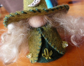 Crescent Moon Wool Felt Witch, Peg Doll Witch, Waldorf Inspired, One of a Kind, Miniature Witch, Art Doll