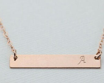 Rose Gold Engraved Necklace, Engraved Bar Necklace, Personalized Rose Gold Bar Necklace, Personalized Bar Necklace, Gold Bar, Valentines Day