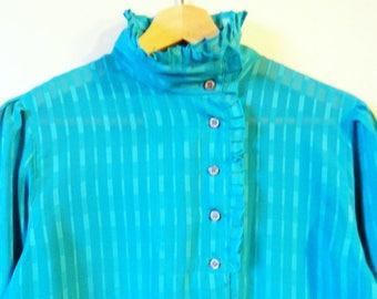 Vintage Sheer Ruffle Neck Blouse / Geometric Rectangle Blouse in Cerulean Blue / Ruffle Neck Secretary Blouse