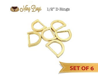 "Set of 6 - 1/2"" D-Rings for Straps, Purse Rings, Strap Rings, Handbag Hardware in Gold Finish"