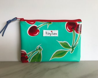 Mini Oilcloth pouch / Mini pouch / Zipper pouch / Gift idea for her / Teal cherry