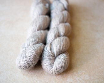 SALE - Alpaca+Silk+Linen sock yarn - hand dyed - Cloud