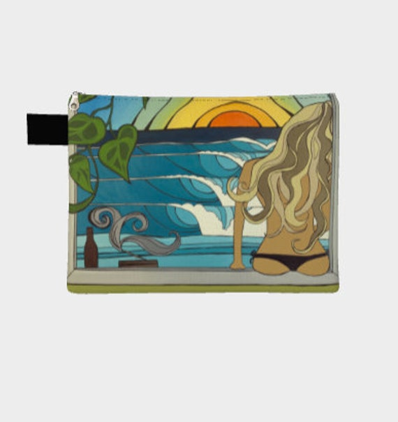 Canvas Zipper Bag Carry-Alls Bikini Bag Surf Art Beach Lover by Lauren Tannehill ART