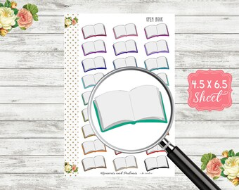 Open Book Planner Stickers - Study Planner Sticker - Reading Planner Sticker - School Stickers - Blank Book Planner Stickers -H159