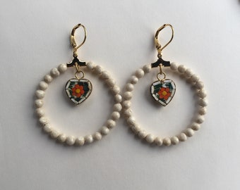 Italian Micro Mosaic Heart Earrings