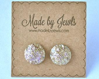 Rose Gold Faux Druzy Stone Handmade Hypoallergenic Button Post Stud Earrings 10mm