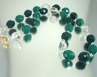 Green & Clear Lucite Necklace Chunky Faceted Beads Unused Vintage Jewelry