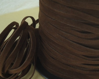 6yds Faux Suede leather Micro Fiber Cord Dark Brown Lacing 6mm x .5mm Flat Jewelry cord dreamcatcher Fake Leather Lace