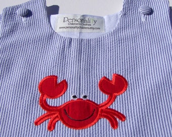 Red Crab on Blue Seersucker Jon jon or Jumper