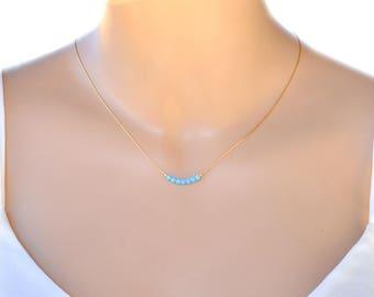 Opal jewelry, Opal necklace, Blue opal bead necklace, opal gold necklace, gold filled tiny necklace, opal bead necklace, October birthstone