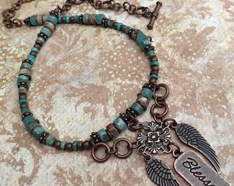 Item 547    Blessed & Angel Wings Beaded Necklace