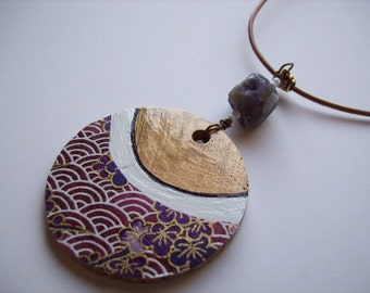 Recycled timber pendant necklace. Amethyst Washi paper design. Amethyst nugget bead. Gold and white paint.