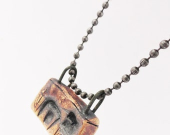 Dark House Necklace Pendant,Tiny Weird Clay House, Haunted Miniature,House Jewelry,  Burned Cottage, Strange Crooked Shack, HD