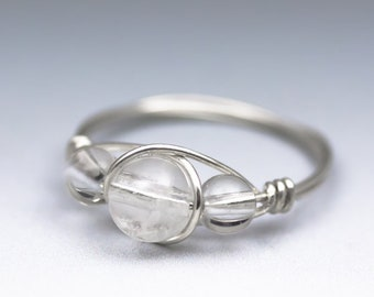 Clear Crystal Quartz Sterling Silver Wire Wrapped Gemstone Bead Ring - Made to Order, Ships Fast!