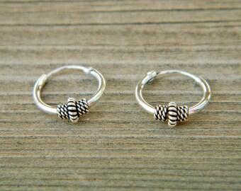 2x12 mm Sterling Silver Hoop Earrings - Silver Hoop Earrings,Tiny Hoop Earrings, Hoop Earrings - Small Hoop Earring - Silver Hoop Tiny,055H