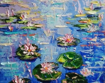 Water lilies; Original palette knife oil painting; framed