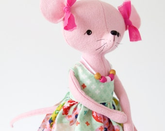 Reserved for Michelle - Eco friendly Soft mouse plush, Stuffed animal mouse doll, softie, Mouse plush, Felt Mouse bear in dress and bows.