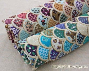 LAST PIECE - Gorgeous Traditional Ocean Wave Shell Pattern Patchwork-Japanese Light Canvas Fabric (Fat Quarter)