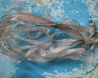 New Style-15 pcs 18-20 inch adjustable silver shiny ribbon necklace cords with lobster clasps