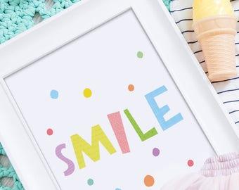 Playroom print, nursery wall decor, best selling items, kids poster, nursery print, kids wall art decor, Smile kids print, playroom poster