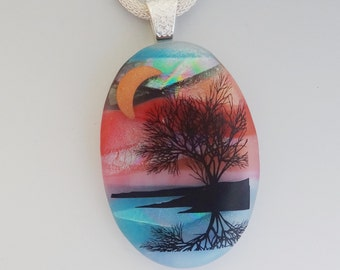 Oval Tree of Life Pendant, Dichroic Glass ReflectionTree Pendant, Landscape Pendant, Scenic Glass Pendant, Fused Glass Jewelry