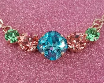 5 Stone Rose Gold Cushion Cut Center Necklace - Light Turquoise, Rose Peach and Peridot
