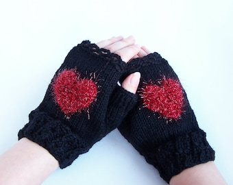 Heart fingerless wool mittens For adult woman teen Winter Love Valentine day gift Chunky warm and cozy Medium size M L XL