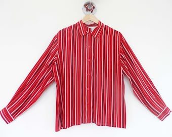 1980's VINTAGE Red STripe Silk Shirt Blouse Top