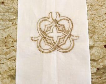 White Linen Hemstitch Guest Towel with Gothic Interlocking Single Letter Monogram