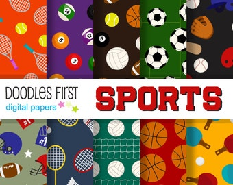 Sports Digital Paper Pack Includes 10 for Scrapbooking Paper Crafts