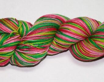 Watermelon Self Striping Hand Dyed Sock Yarn