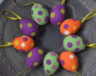Easter Home Decor Easter Felted Eggs Set Of9 Light Green Purple Orange Dotted Eggs Easter Ornaments Needle Felted Eggs handmade Eggs