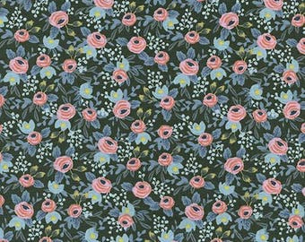 Menagerie Rosa Hunter - Cotton + Steel Fabric - Rifle Paper Co Fabric - Quilting Cotton - Metallic Floral - Fabric by the Yard - 8004-05