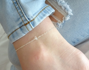 Herkimer Diamond anklet, April birthstone jewelry, Diamond anklet, Minimal Gemstone anklet in Gold, Silver, Rose gold, Raw Crystal Anklet