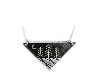 Zen Night Forest Large Triangle Necklace