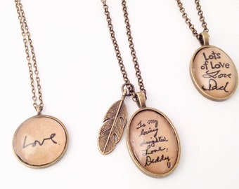 Hendersweet Handwriting Necklace. Memory Necklace.  From a Loved One. Handwriting Jewelry