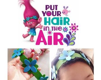 Trolls- Poppy Headband-Girls Headband, Trolls Poppy headband  handmade