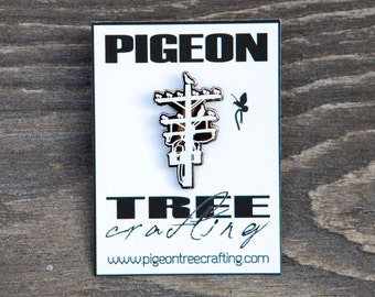 Pigeon Tree Crafting Pin- White and Black Nickel