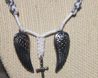 Wings and a Cross Hemp Necklace