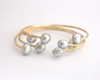 Hammer Cuff white or light Grey Pearls Sterling Silver Pearl Cuff bracelet White Fresh Water Pearls Double Pearl Cuff stacking cuffs 0159