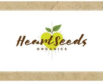 Custom Logo Design - PreDesigned Logo PreMade Logo Vector Logo - OOAK Logo - HEART SEEDS Logo Branding - Heart Logo - Eco Friendly Logo