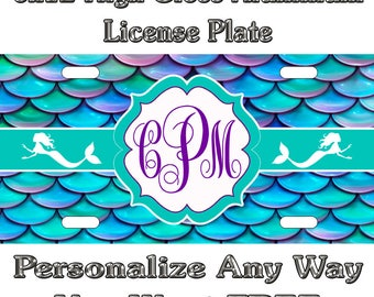 Mermaid Beach Life Sign Custom Monogram License Plate Auto Car Tag Personalize Background Wallpaper Aluminum Novelty