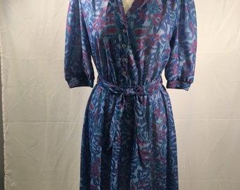 Vintage 1970s Blue Floral Knit California Looks Flare Dress (Med)