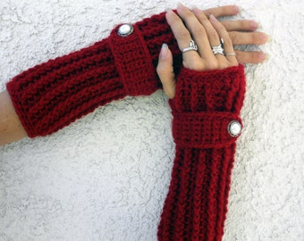 Cranberry arm warmers, fingerless gloves, arm warmers, crochet arm warmers, texting gloves, hand warmers, wrist warmers, crochet accessories