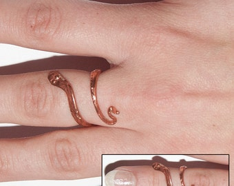 Handmade Copper Snake Ring.  One size fits all.