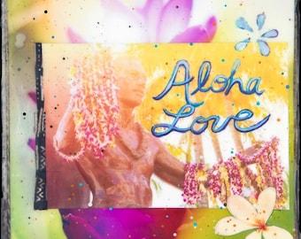 GLASSED, Aloha Love DUKE, 4x4 and Up, Hand Painted, Hand-Glassed artwork, wood panel, ocean, surfing, Hawaii, Aloha, wall art, gift